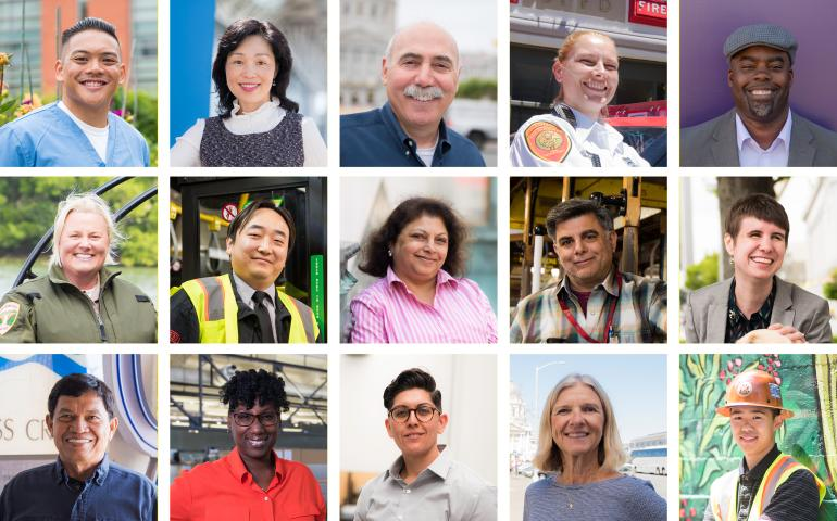 16 portrait images of different City and County of San Francisco employees and retirees.