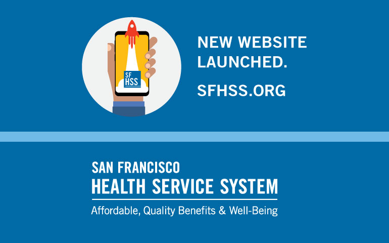 SFHSS website launch banner illustration of a hand holding a cell phone with a rocket flying out of it.