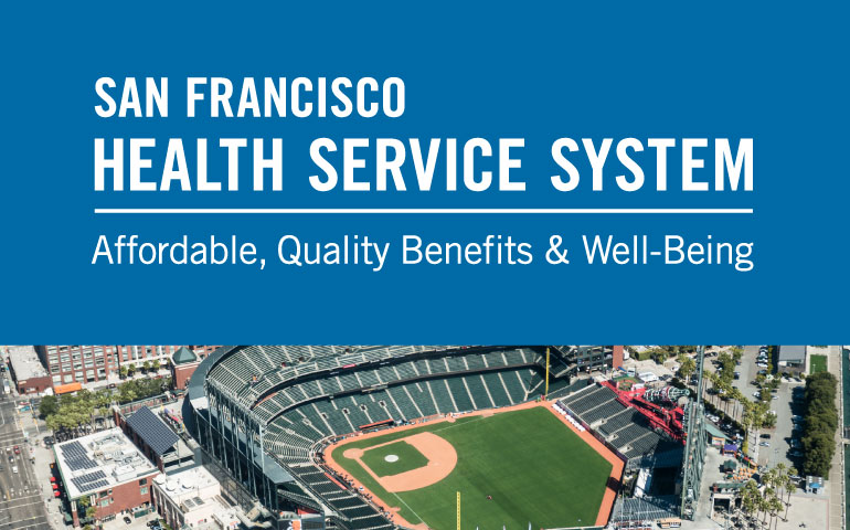 April eNews banner showing SFHSS logo above an aerial photo of the Giants Baseball stadium.