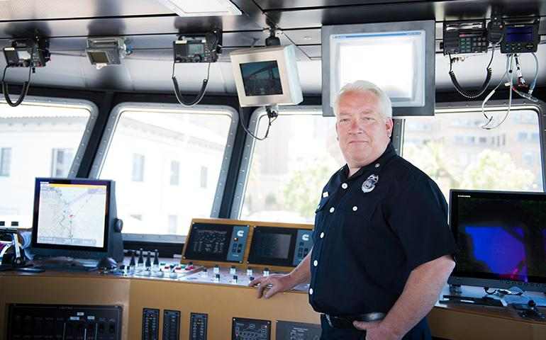 Image of San Francisco Fireboat Engineer standing inside of the City's Fireboat
