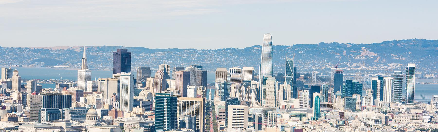 Image of a wide panoramic image of the City of San Francisco as seen from Twin Peaks towards downtown.