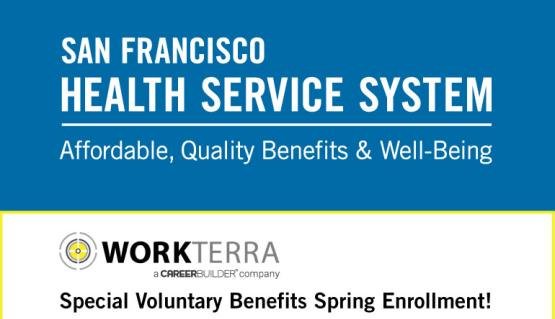 Banner with two stacked logos: sfhss and workterra, the benefits administrator for SFHSS' voluntary benefits